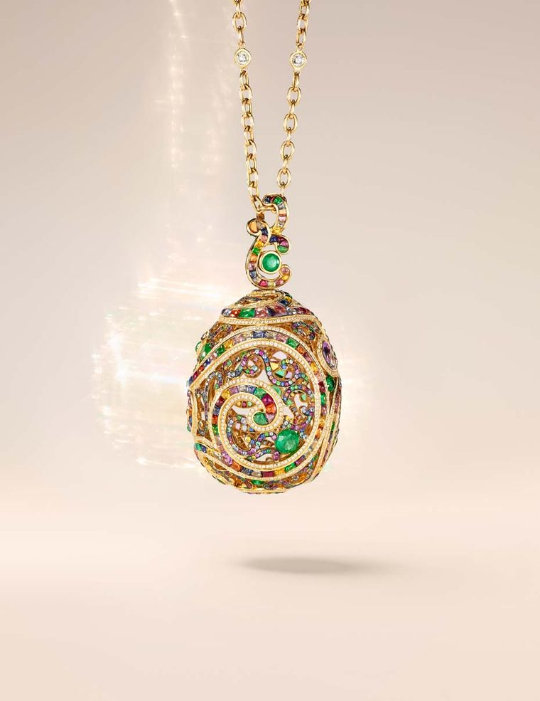 Fabergé Rococo multi-coloured yellow gold high jewellery pendant (£POA).