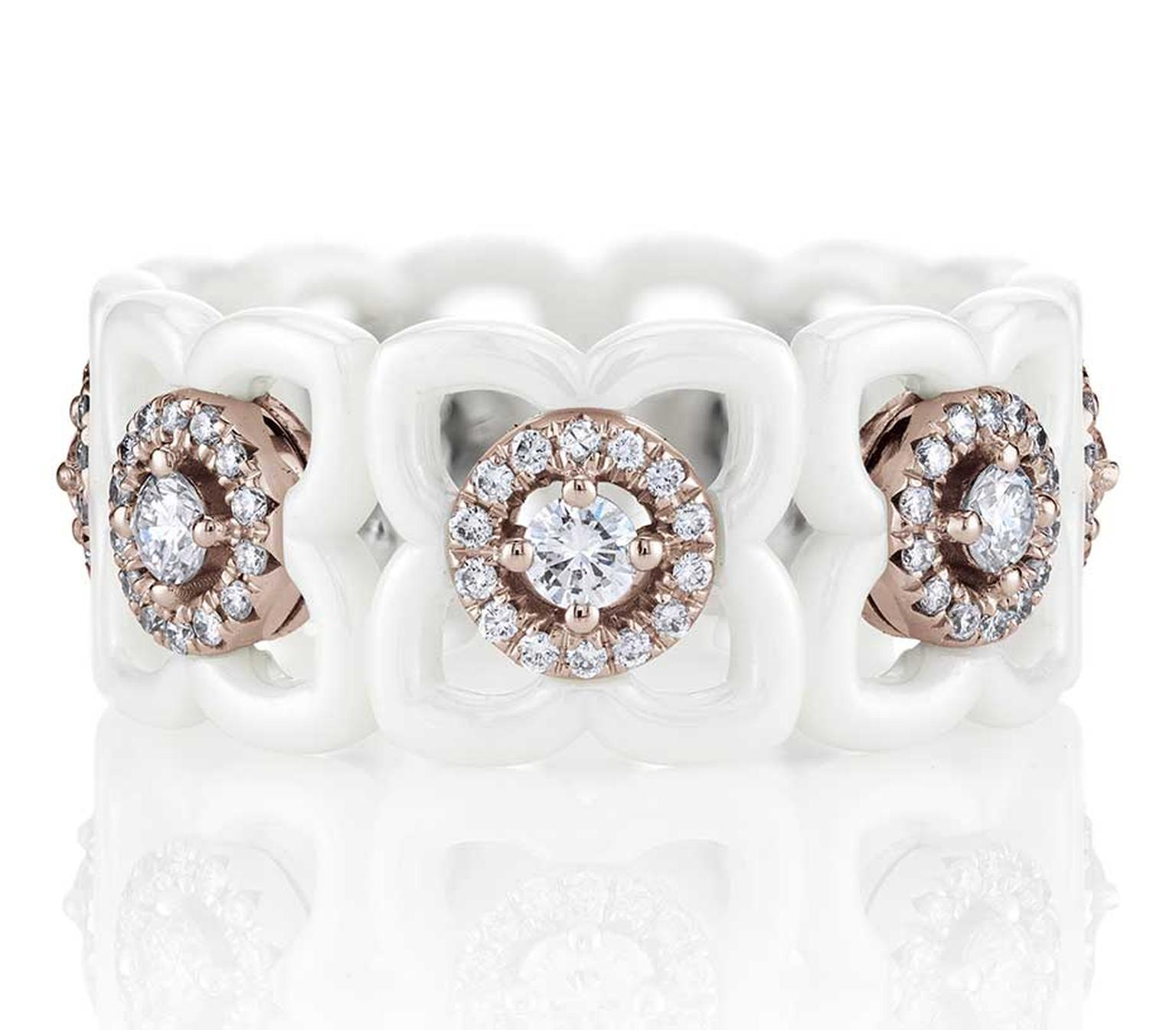 De Beers Daylight Enchanted Lotus ring in white ceramic, pink gold and diamonds (£3,225).