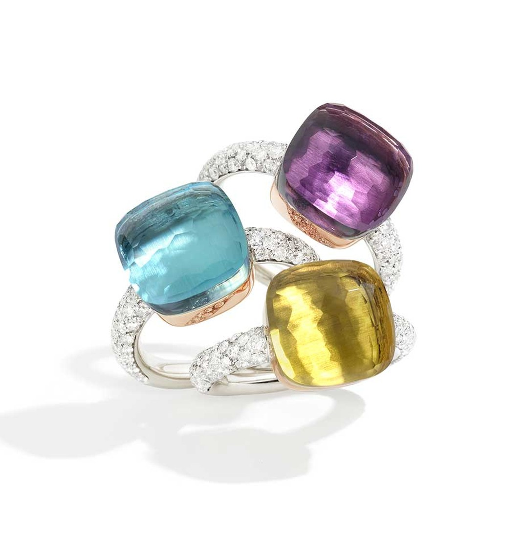 Pomellato Nudo rings in white gold and diamonds, set with an amethyst, blue topaz and lemon quartz (£3,980 each).