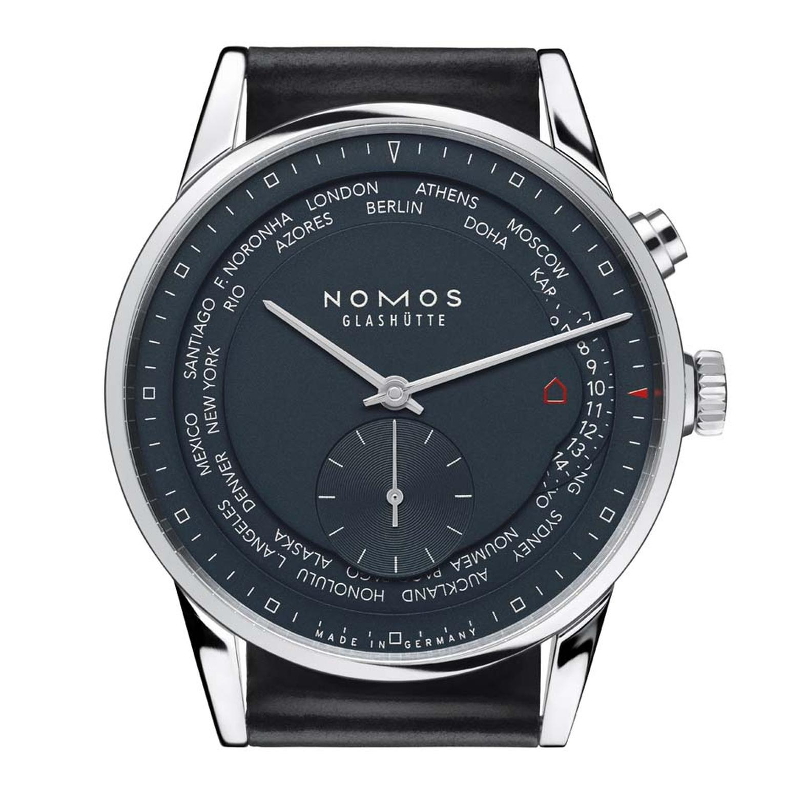 The Nomos Zurich Worldtimer Trueblue watch features 24 time zones on its dial. In spite of its technical complexity, the watch is faithful to the company's minimalist Bauhaus aesthetic. Inside the 39.9mm stainless steel case is Nomos' innovative swing sys