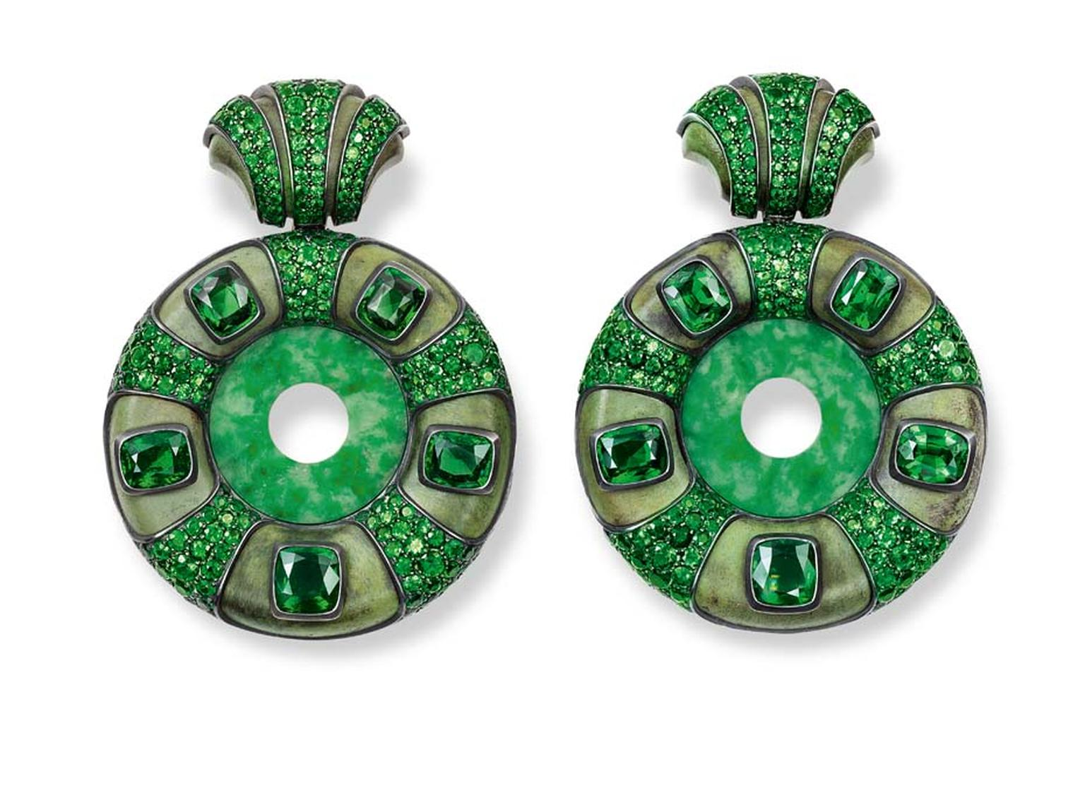 Hemmerle earrings with jade discs and tsavorites in silver and gold.