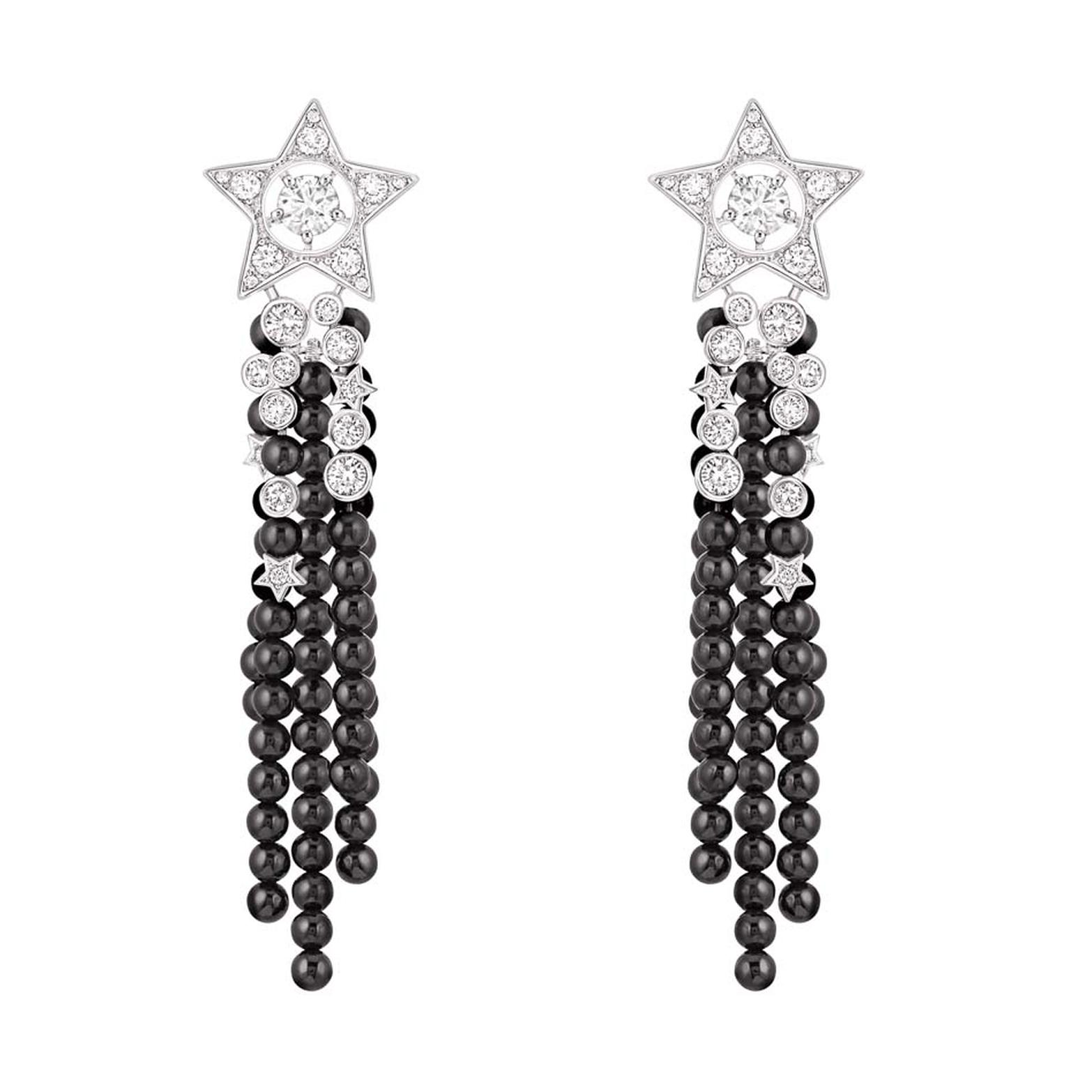 Chanel Comète collection diamond and onyx bead earrings.