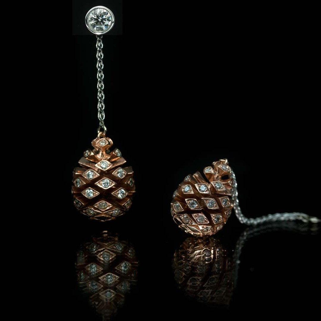 Guy & Max jewellers have recreated the pine cone in rose gold with a generous smattering of diamonds.
