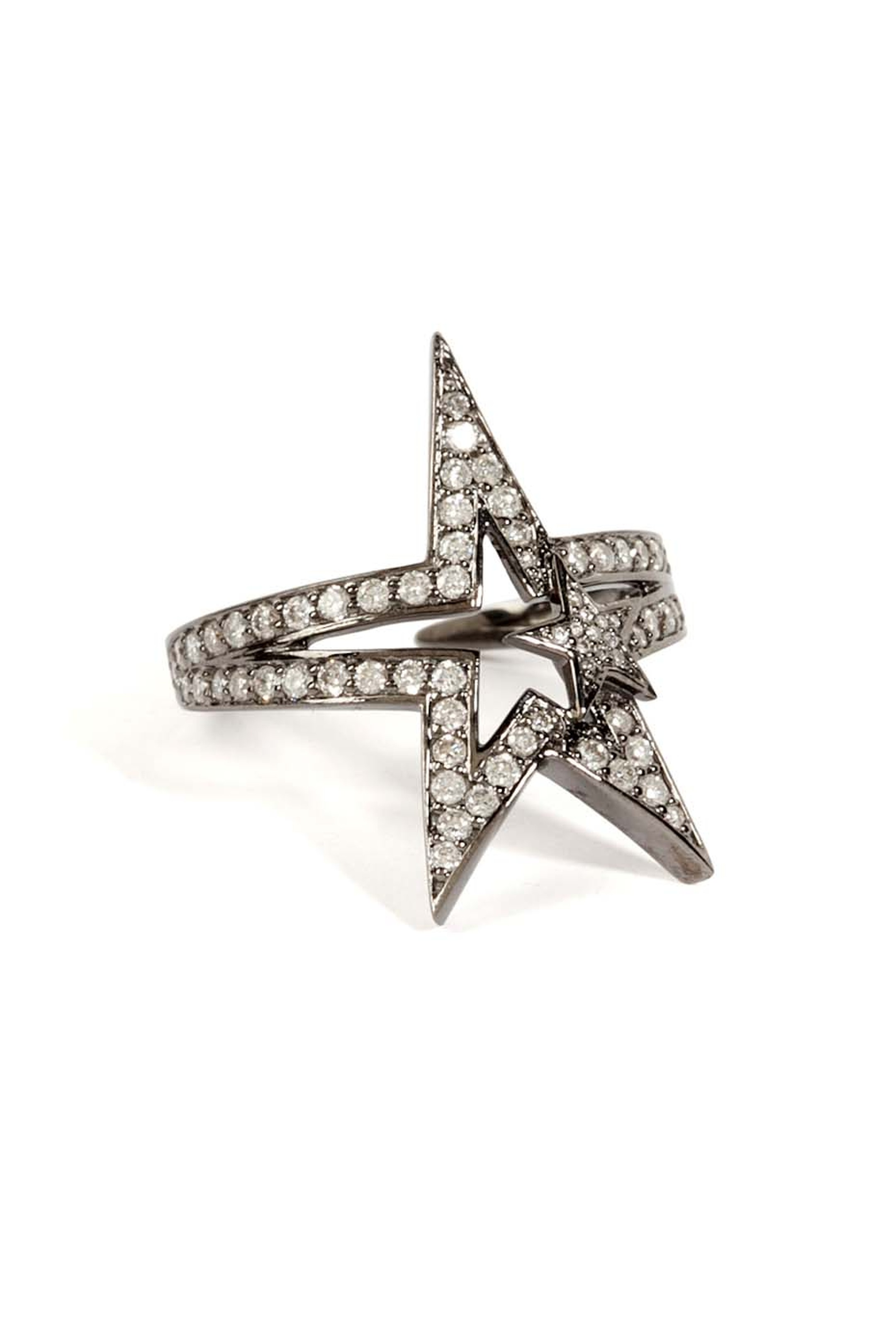 Nikos Koulis black rhodium Star ring with diamonds.