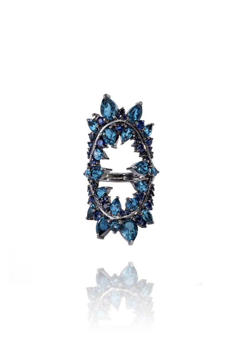 Fernando Jorge Electric Shock ring crafted from black rhodium-plated gold, sapphires and London Blue topaz. Available from matchesfashion.com (£4,720).