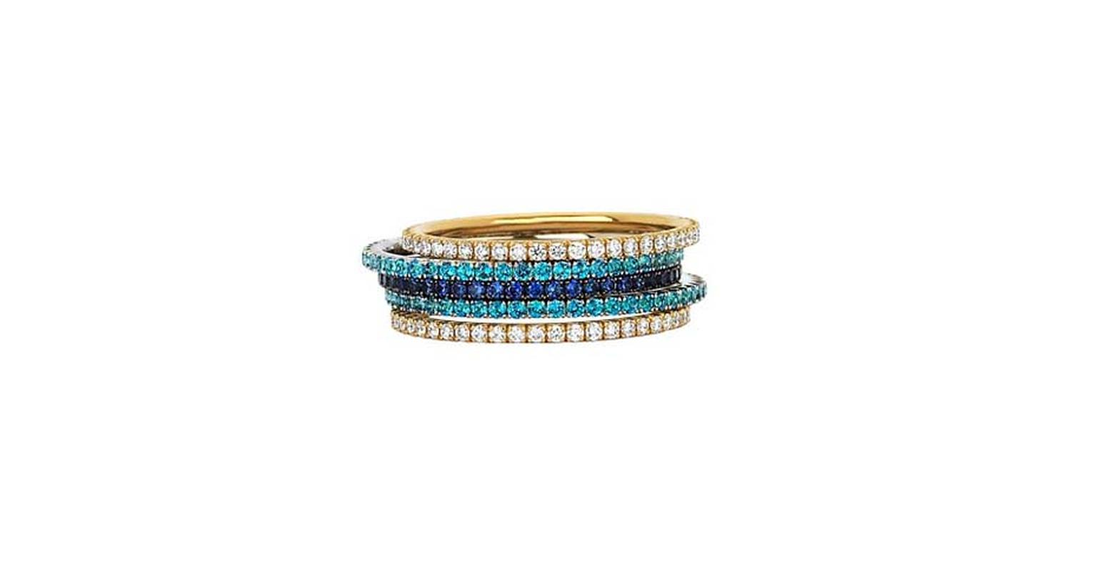 Martin Katz micro-pavé bands with diamonds, sapphires and blue topaz.