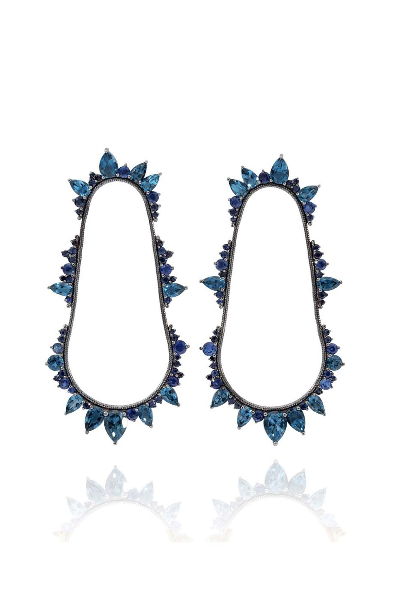 Fernando Jorge Electric Cycle earrings featuring black rhodium plated gold, sapphires and London blue topaz. Available at matchesfashion.com (£6,000).