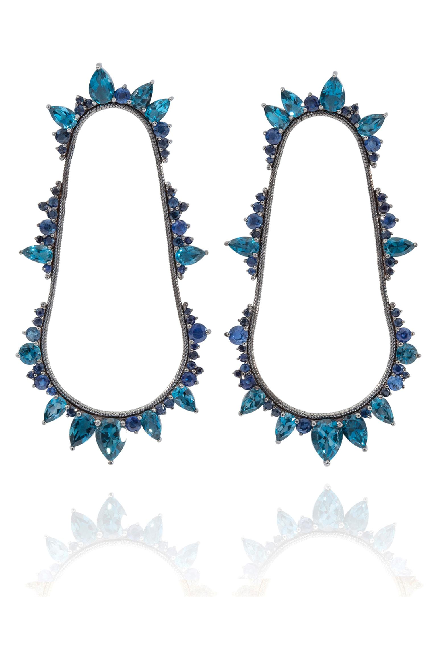 Fernando Jorge London Blue topaz earrings with sapphires in black rhodium-plated gold, from the Electric Cycle collection. Available at matchesfashion.com (£6,000).