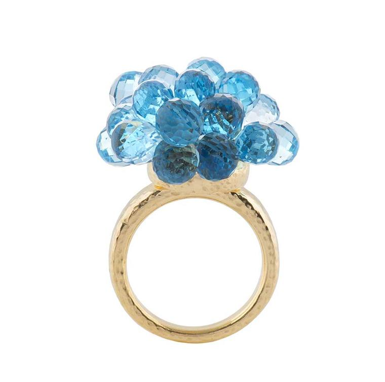 Biiju Explosion Swiss blue topaz ring in gold (£2,775).
