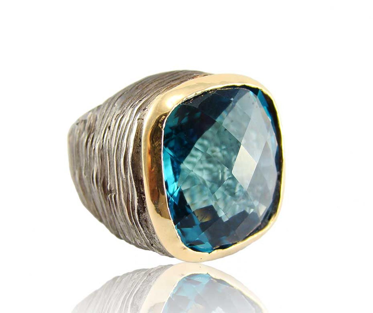 Corrado Giuspino blue green topaz cocktail ring.