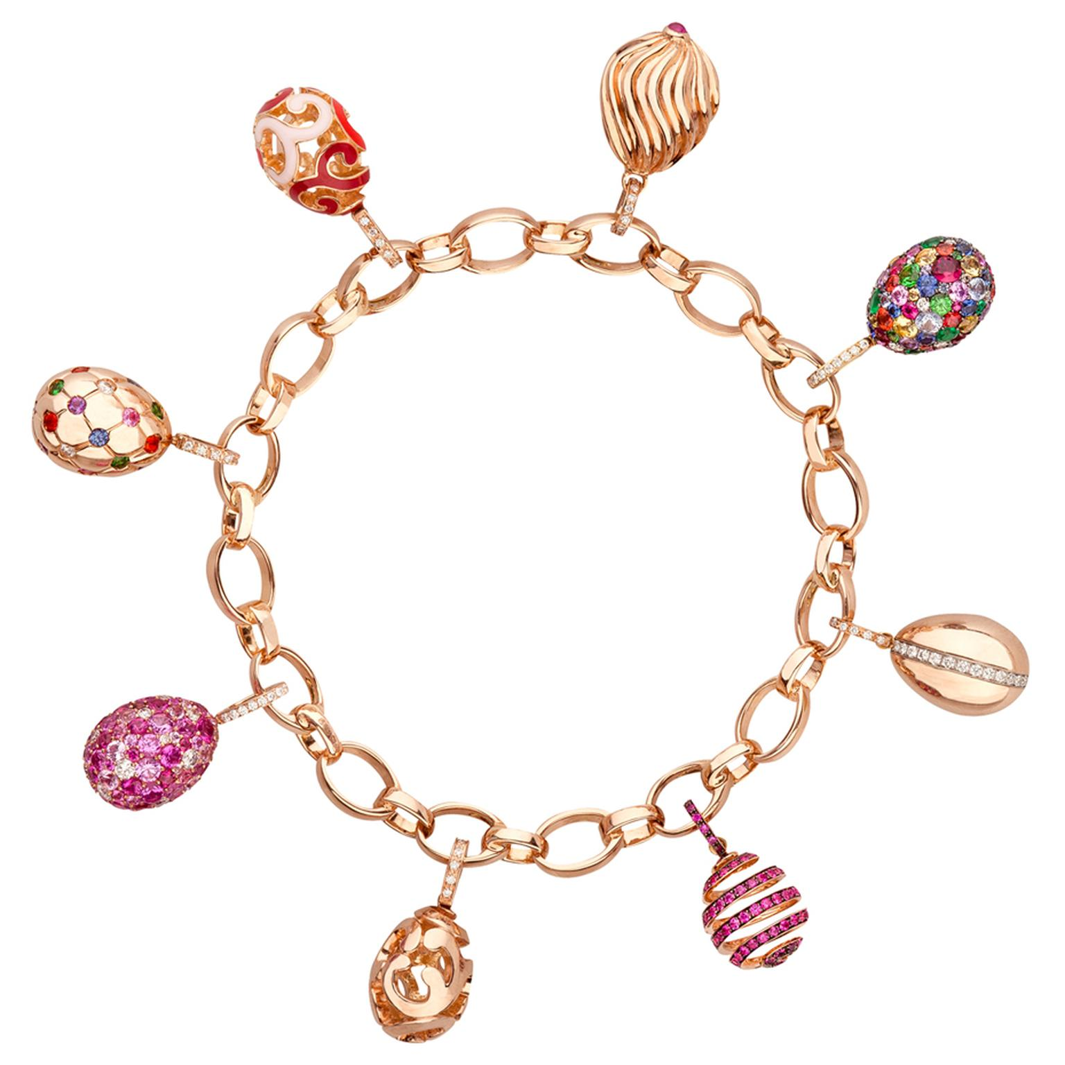 Fabergé rose gold charm bracelet featuring sapphires, amethysts, diamonds, enamel and other coloured gemstones.