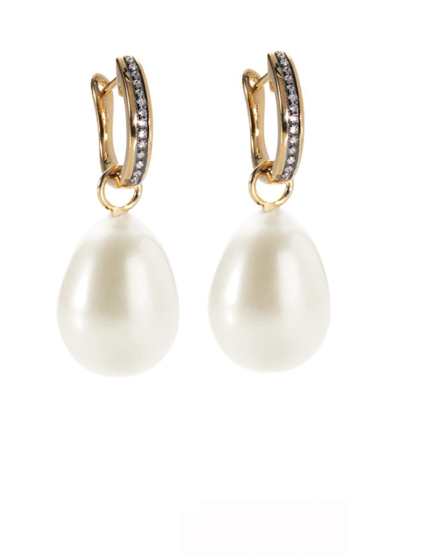 Annoushka Baroque Pearl Earrings Paired With Eclipse Yellow Gold And Diamond Porcupine Hoop