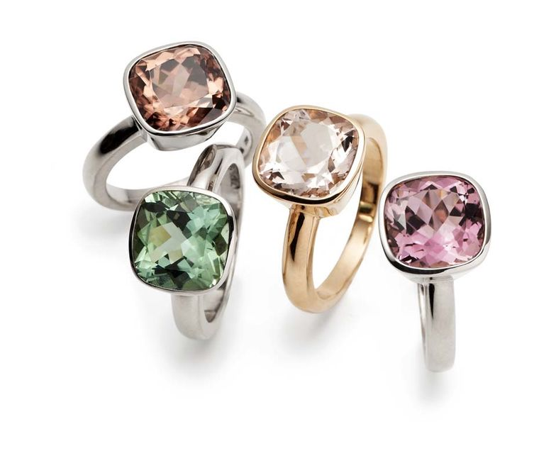 CADA Roma rings in, left to right, white gold with zircon, white gold with green tourmaline, rose gold with morganite and white gold with pink tourmaline.