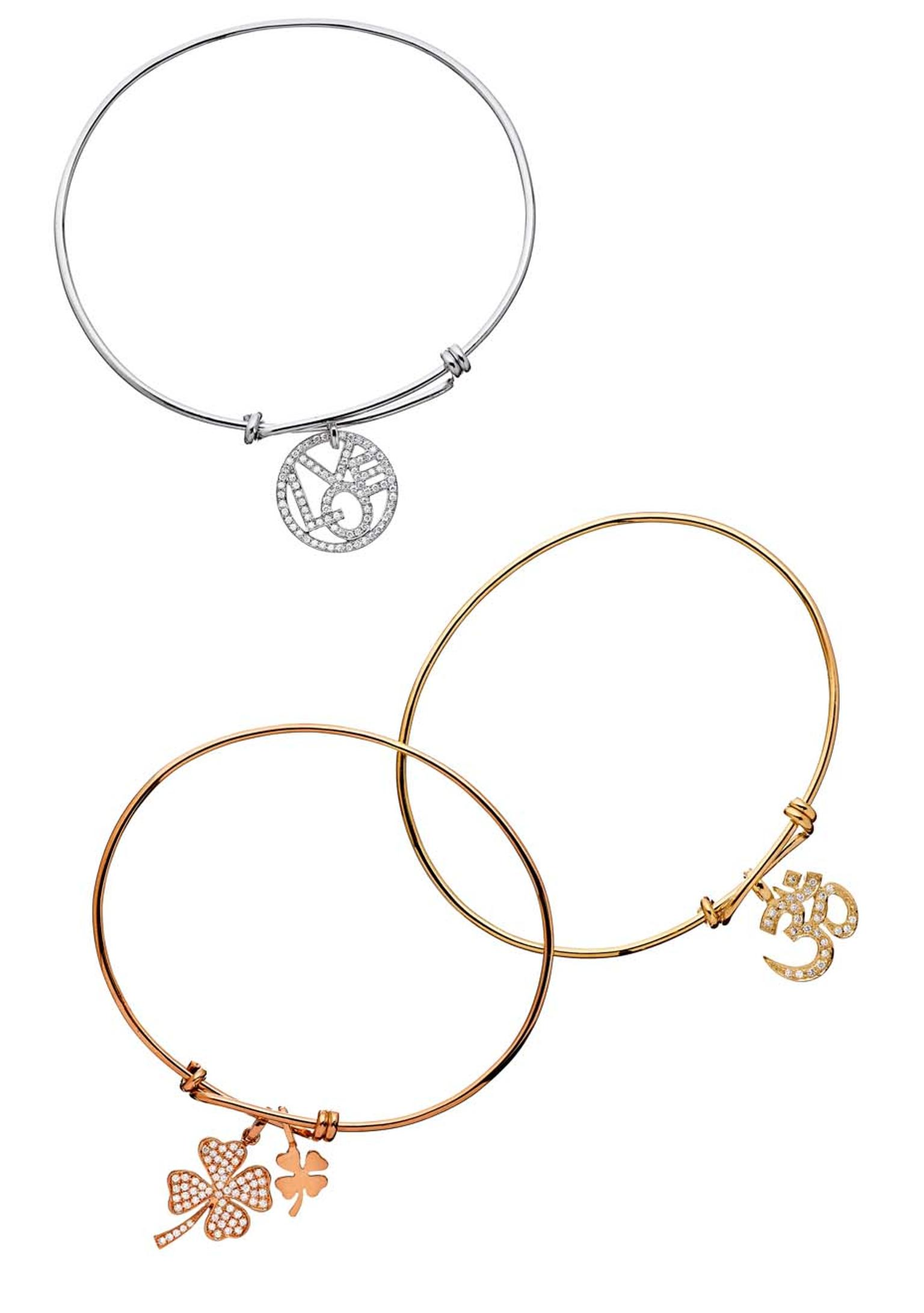 CADA's Love and Peace designs have been elevated to iconic status. The Love and Peace bracelets spell out a universal message in diamond pavé on white, yellow or rose gold.
