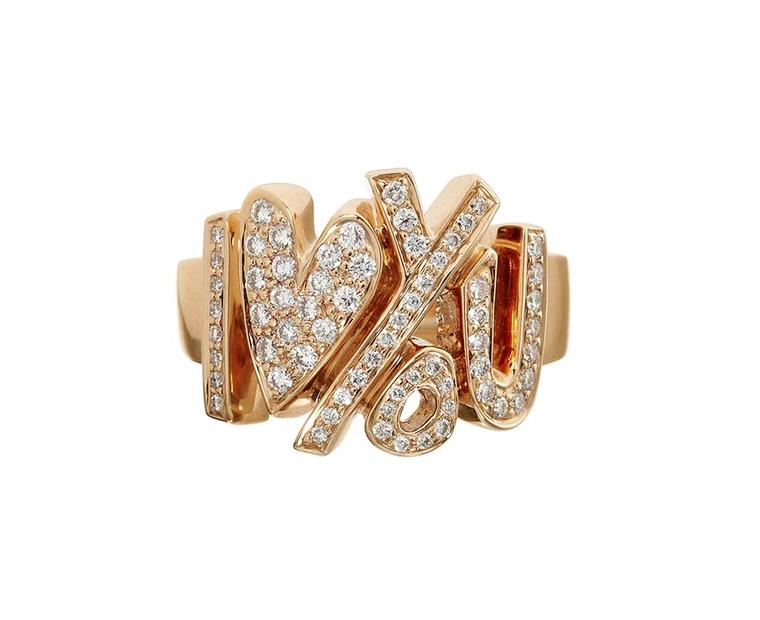 CADA XL I Love You rose gold ring spelled out with pavé diamonds.
