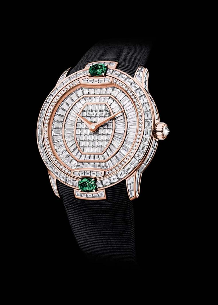 Roger Dubuis Velvet Haute Joaillerie watch in pink gold with 367 baguette and brilliant-cut diamonds and two striking emeralds.