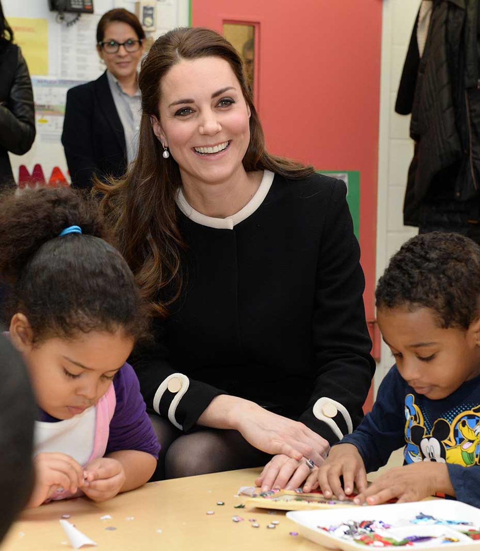 Kate Middleton wore a pair of familiar Annoushka pearl earrings during a visit to Northside Center for Child Development in Harlem, New York.