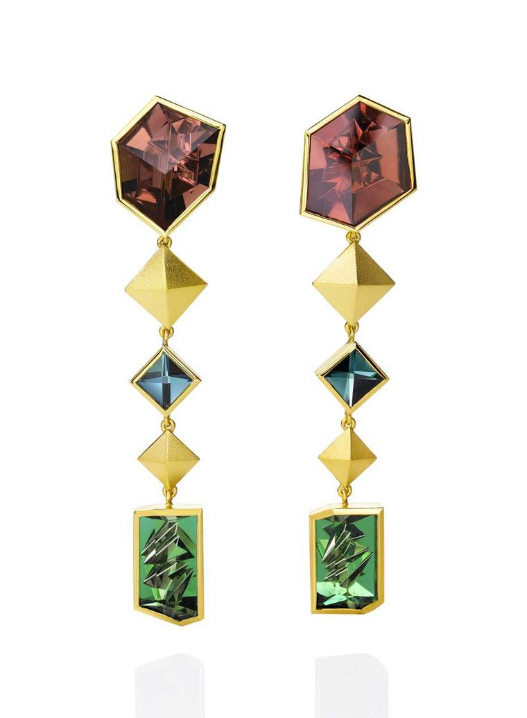 Atelier Munsteiner earrings set with six coloured tourmalines in yellow gold.
