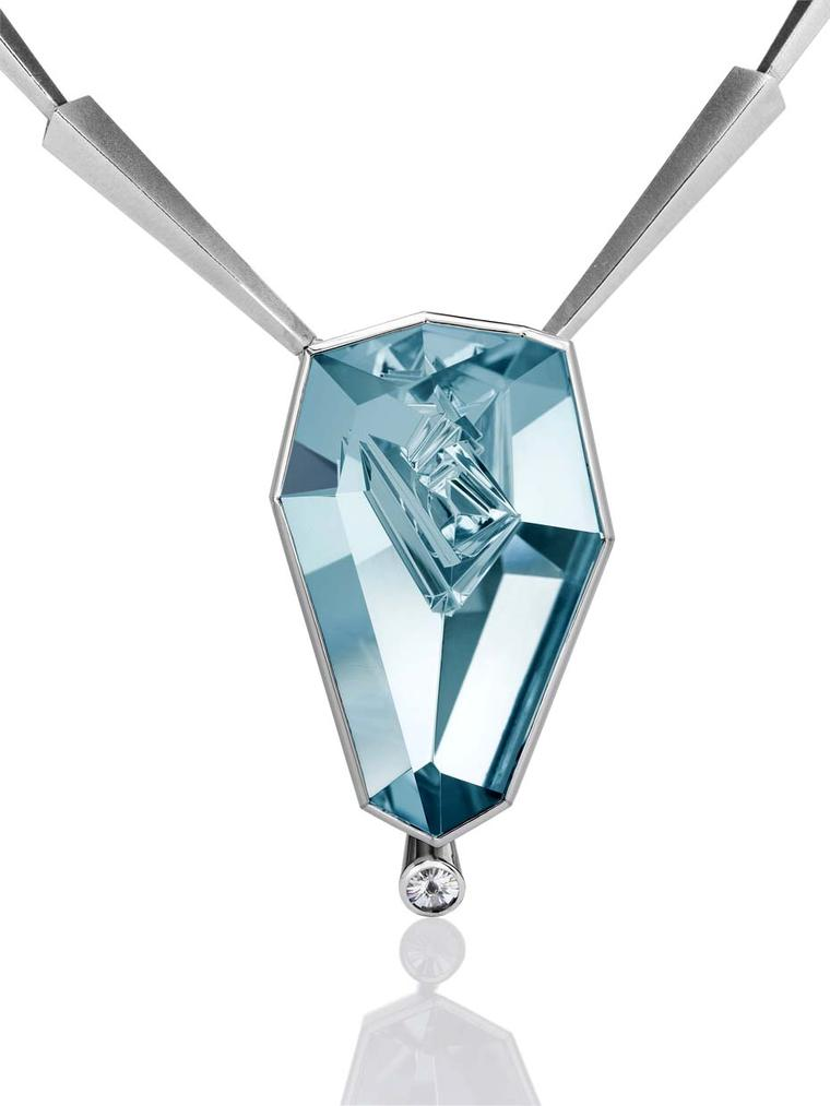 Atelier Munsteiner necklace featuring an aquamarine with a brilliant-cut Spirit diamond.
