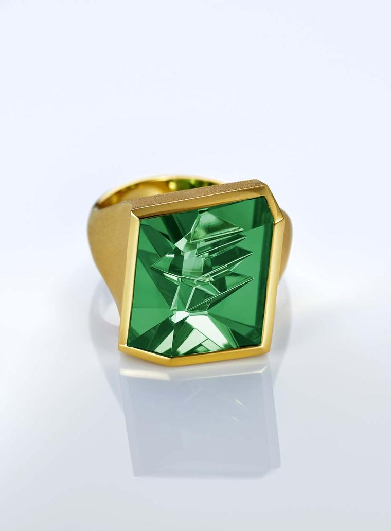 Atelier Munsteiner ring with a green tourmaline set in gold.