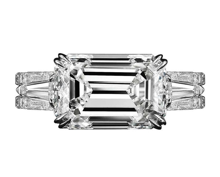 Alexandra Mor floating baguette-cut diamond engagement ring in platinum and yellow gold, from the new Vows collection.