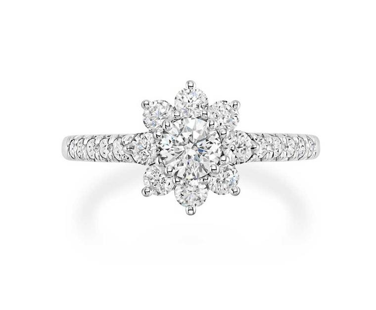 Harry Winston Sunflower diamond engagement ring.