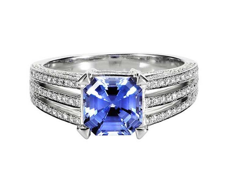 Royal Asscher blue sapphire engagment ring with diamonds.