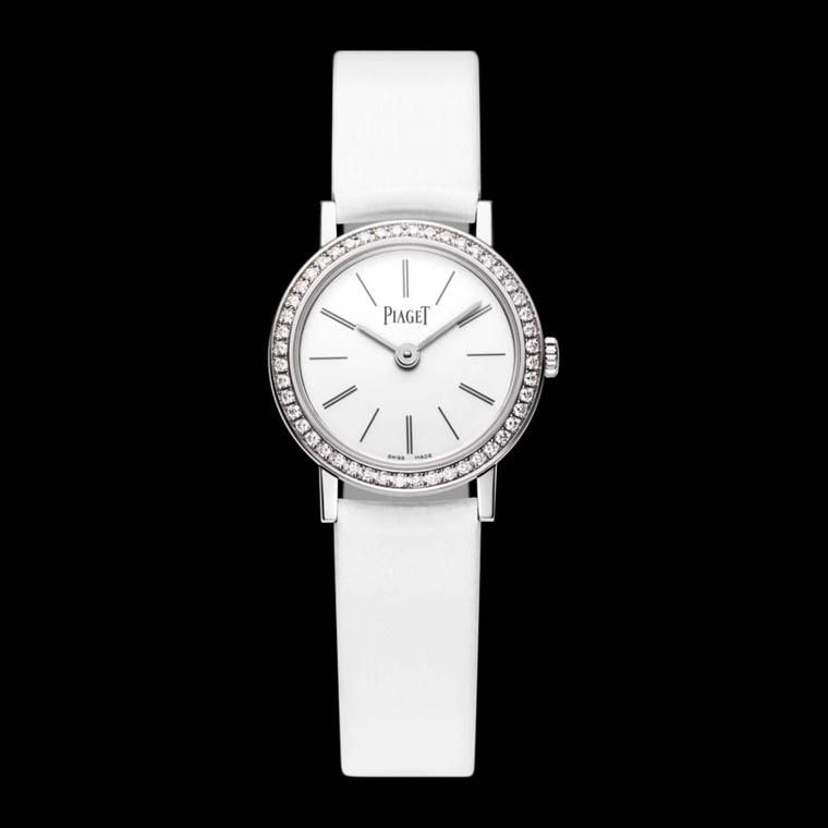 The elegant Piaget Altiplano ladies watch in white gold is a dainty 24mm in diameter and just 5.44mm thick.