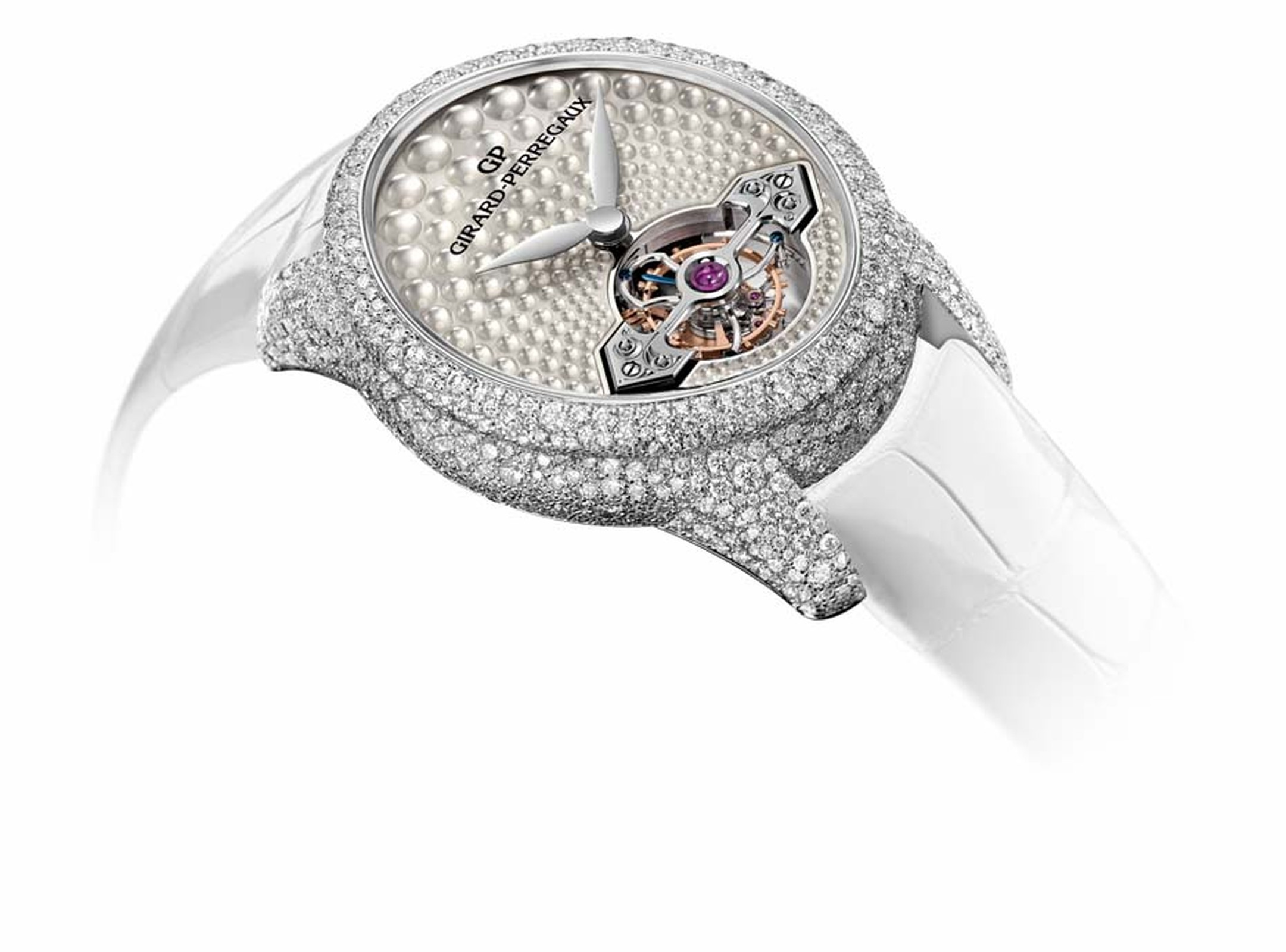 Girard-Perregaux Cat's Eye Jewellery watch features a tourbillon at 6 o'clock powered by an in-house manually-wound movement.