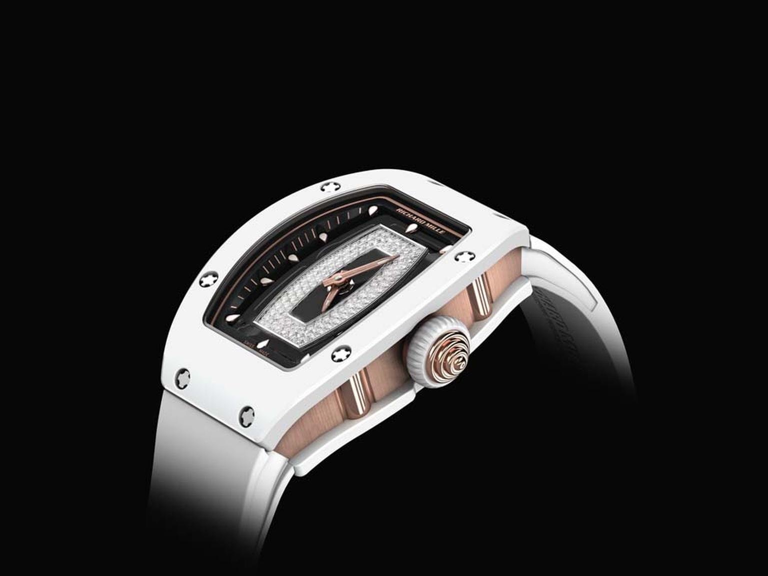 Richard Mille RM 07-01 ladies watch features a smooth white ceramic tonneau-shaped case resilient to everyday wear, tear and scratches.