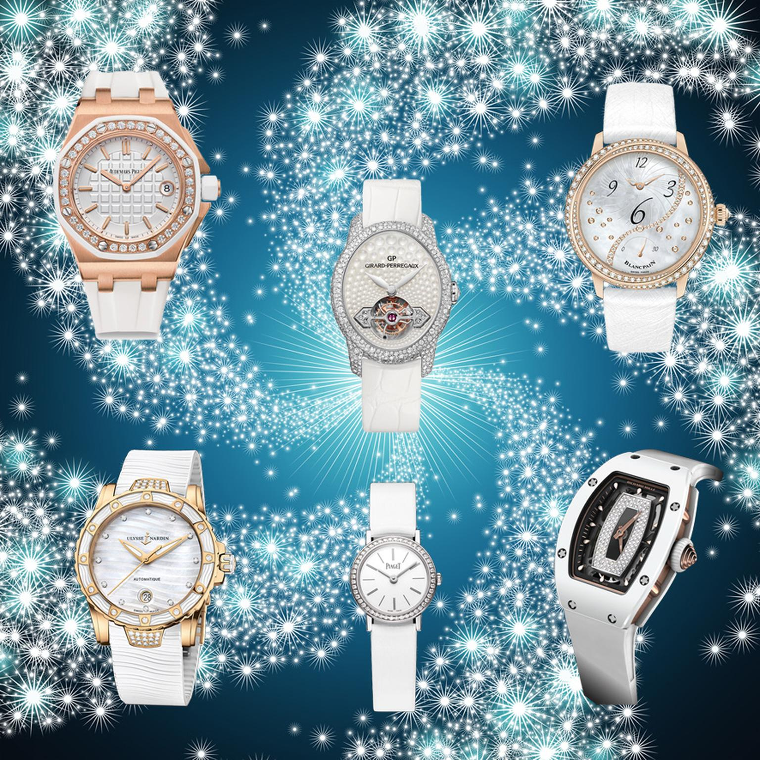 The trend for white on white in haute couture has had a lasting repercussion in the watch world, especially with these watches from Audemars Piguet, Girard-Perregaux, Blancpain, Ulysse Nardin, Piaget and Richard Mille.
