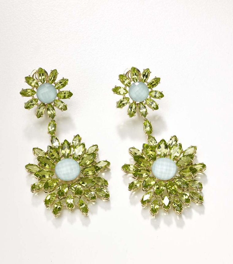 One-of-a-kind Meissen earrings with ice green porcelain and peridots from the Haute Couture collection.