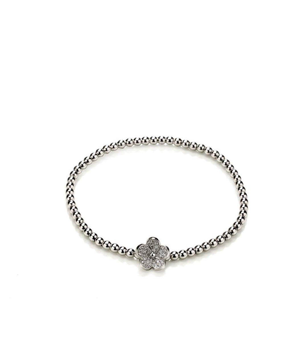 Meissen Blossom collection beaded bracelet in white gold with a flower filled with pavé diamonds.