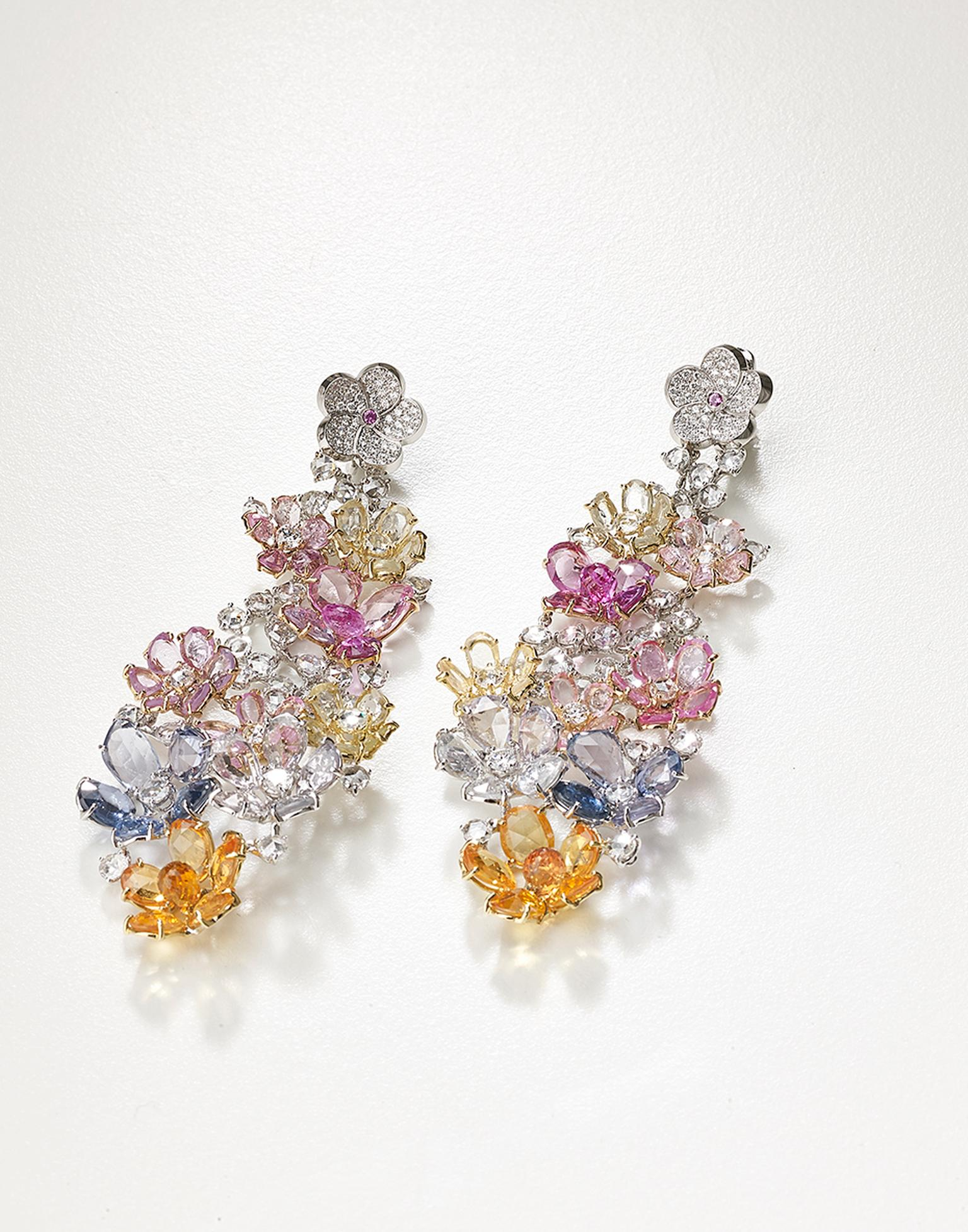 One-of-a-kind Meissen earrings with multi-coloured sapphires and diamonds, from the Haute Couture collection.