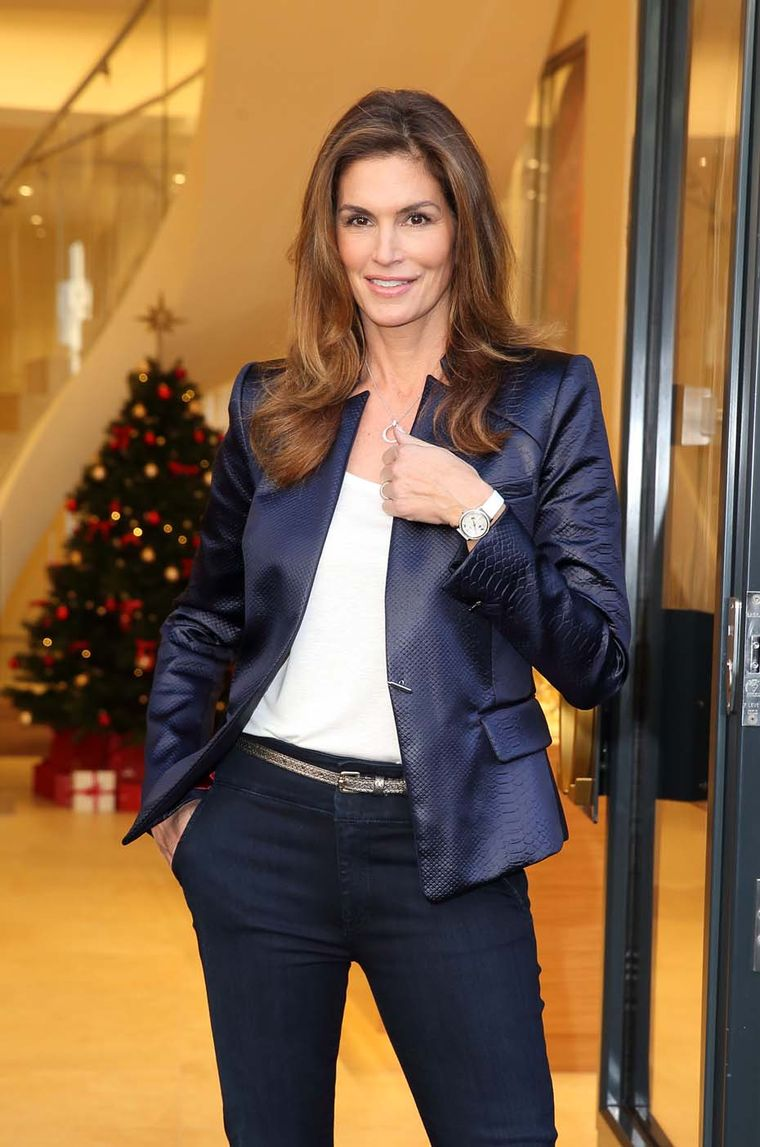 Cindy Crawford has been an ambassador for Omega since 1995, longer than any of the company's other ambassadors. She was pictured at the Omega boutique opening in London wearing a white Omega DeVille Prestige watch with a mother-of-pearl dial.
