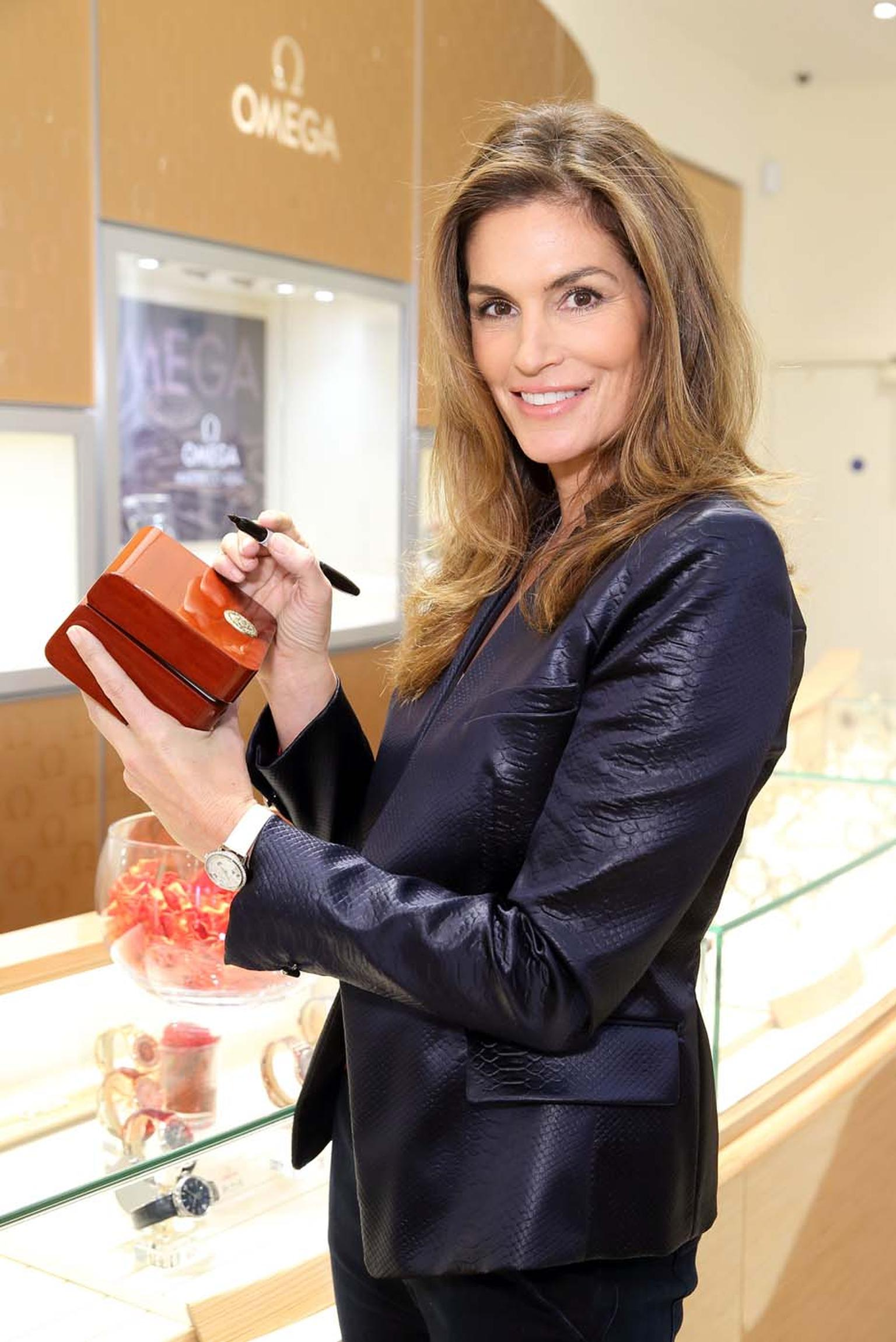 Omega's longest-standing brand ambassador, Cindy Crawford, was in London last week to open the Swiss watch house's newest boutique on Oxford Street.