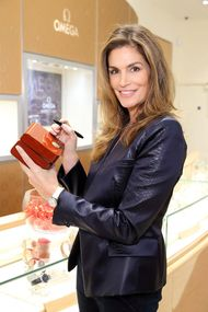 Cindy Crawford flies in to London to open the latest Omega boutique on Oxford Strteet