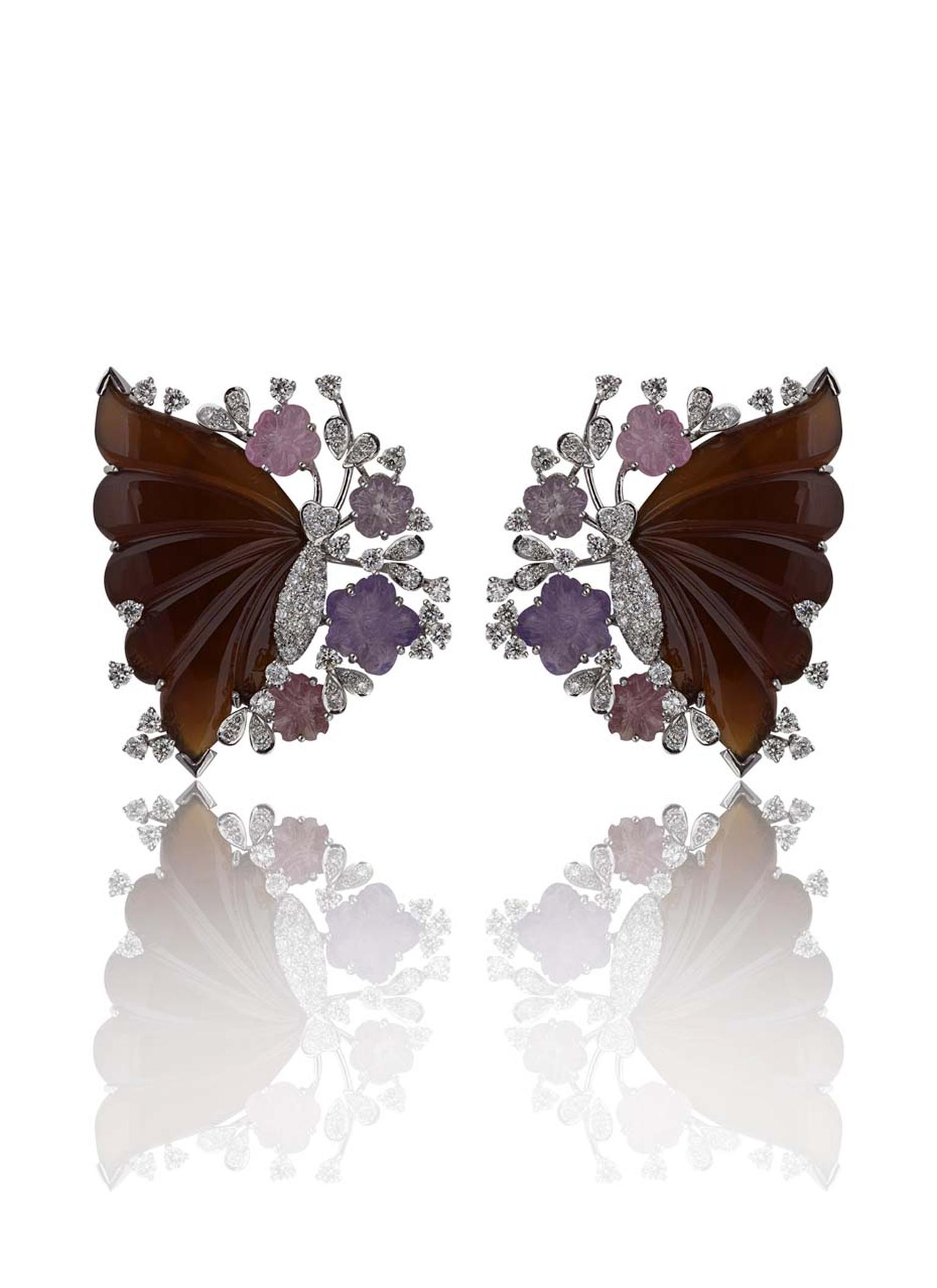Mirari Butterfly Pavilion earrings with deep red butterfly wings that contrast beautifully with the pastel-coloured flowers and glittering diamonds.