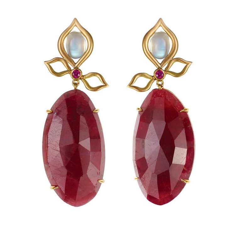 Anahita ruby earrings in yellow gold featuring 62.10ct of rubies, diamonds and silver moonstones.