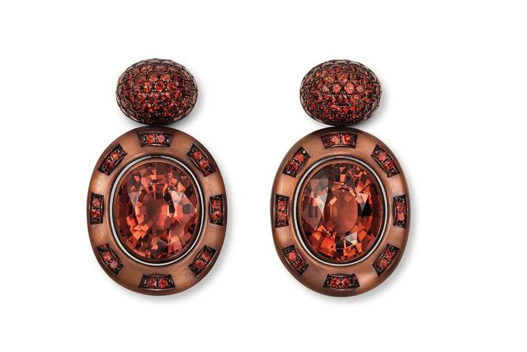 One-of-a-kind Hemmerle earrings with tourmalines and garnets in copper and white gold.