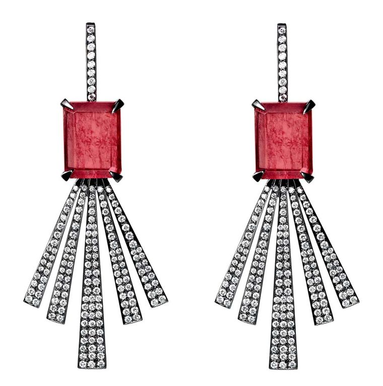 Jack Vartanian earrings from the Ned Desire collection in white gold and black rhodium, set with rhodonite and diamonds.