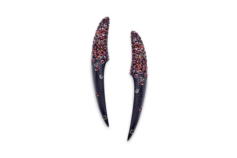 Suciyan earrings in textured silver with black plating, set with orange sapphires and champagne diamonds.