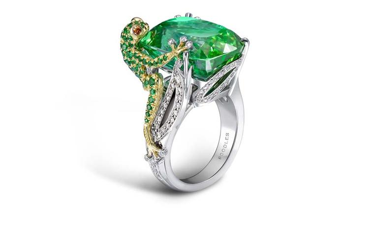 Boodles frog ring in platinum, from the high jewellery collection, featuring a central green tourmaline surrounded by diamonds and tourmalines.