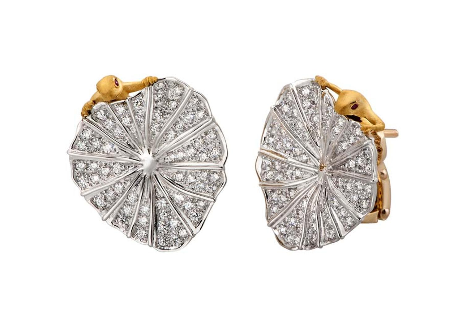 A tribute to immortal love, Carrera y Carrera's frog earrings in white and yellow gold feature diamonds and rubies and are from the new Romance en el Loto collection.