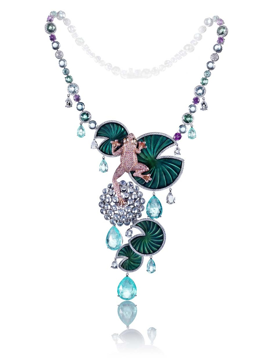 This impressive Chopard Frog necklace, from the Animal Kingdom collection, is set with white, pink and brown diamonds, Paraiba tourmalines, aquamarine cabochons, aquamarines, tourmalines and pink sapphires, pastel blue sapphire cabochons and rose-cut gree