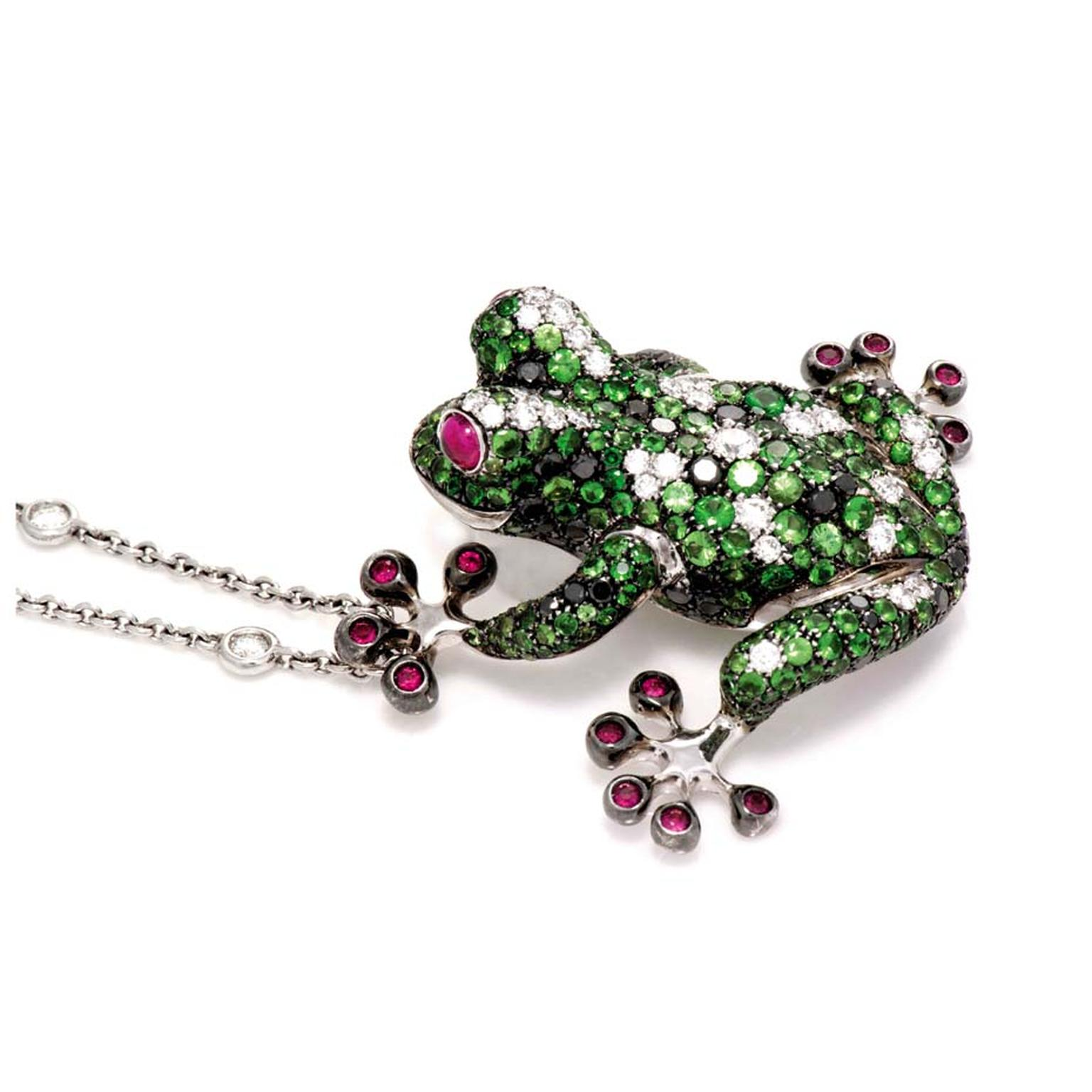 Gismondi Frog pendant with diamonds, rubies and tzavorites.
