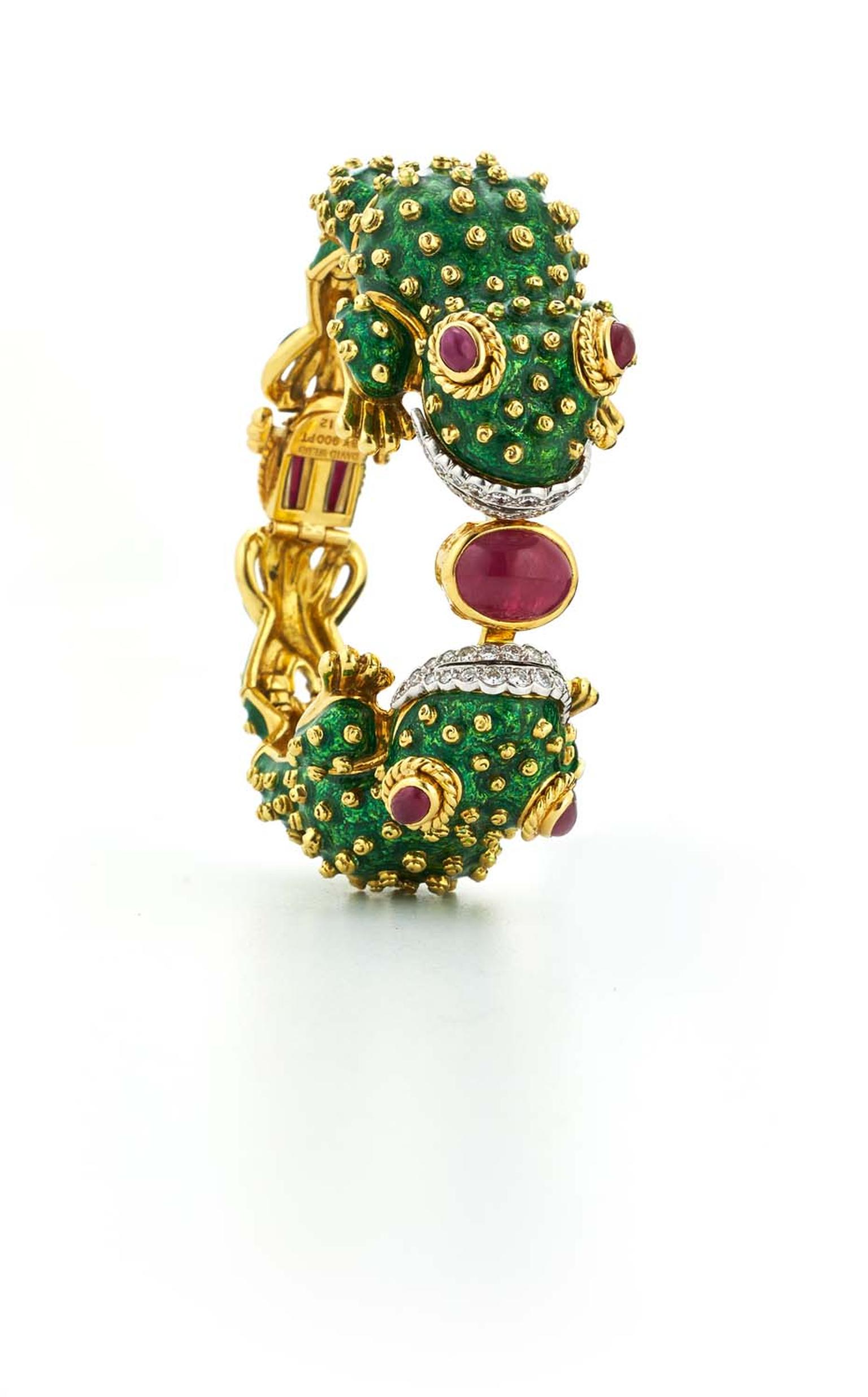 David Webb gold Frog bangle with green enamelling, rubies and diamonds.
