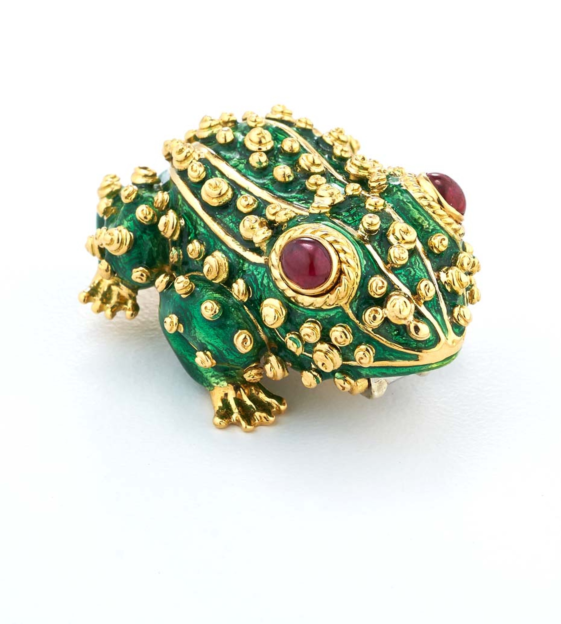 This David Webb gold Frog brooch, with green enamelling, rubies and diamonds, begs to be kissed.