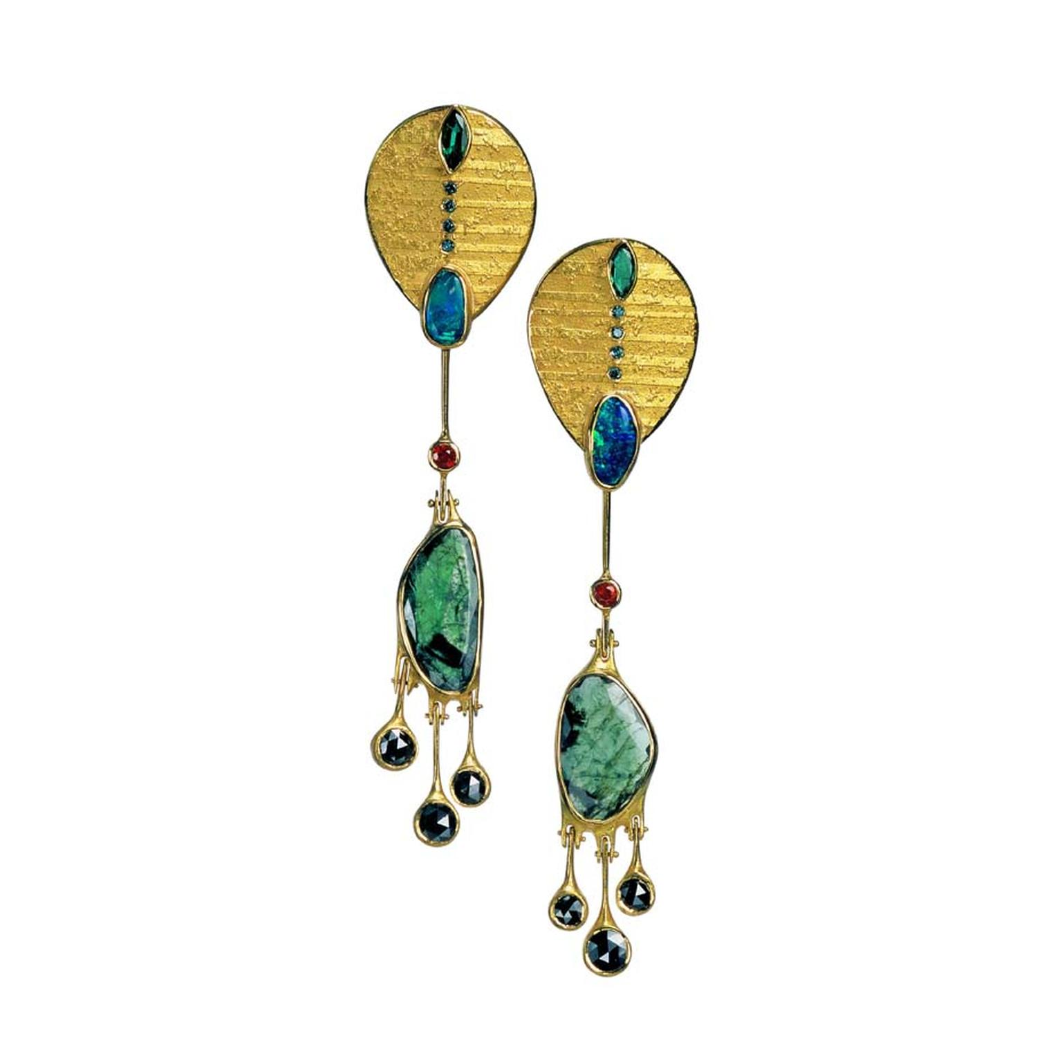 Atelier Zobel earrings in gold with emerald discs, black diamonds, emeralds, rubies, opals and blue diamonds.