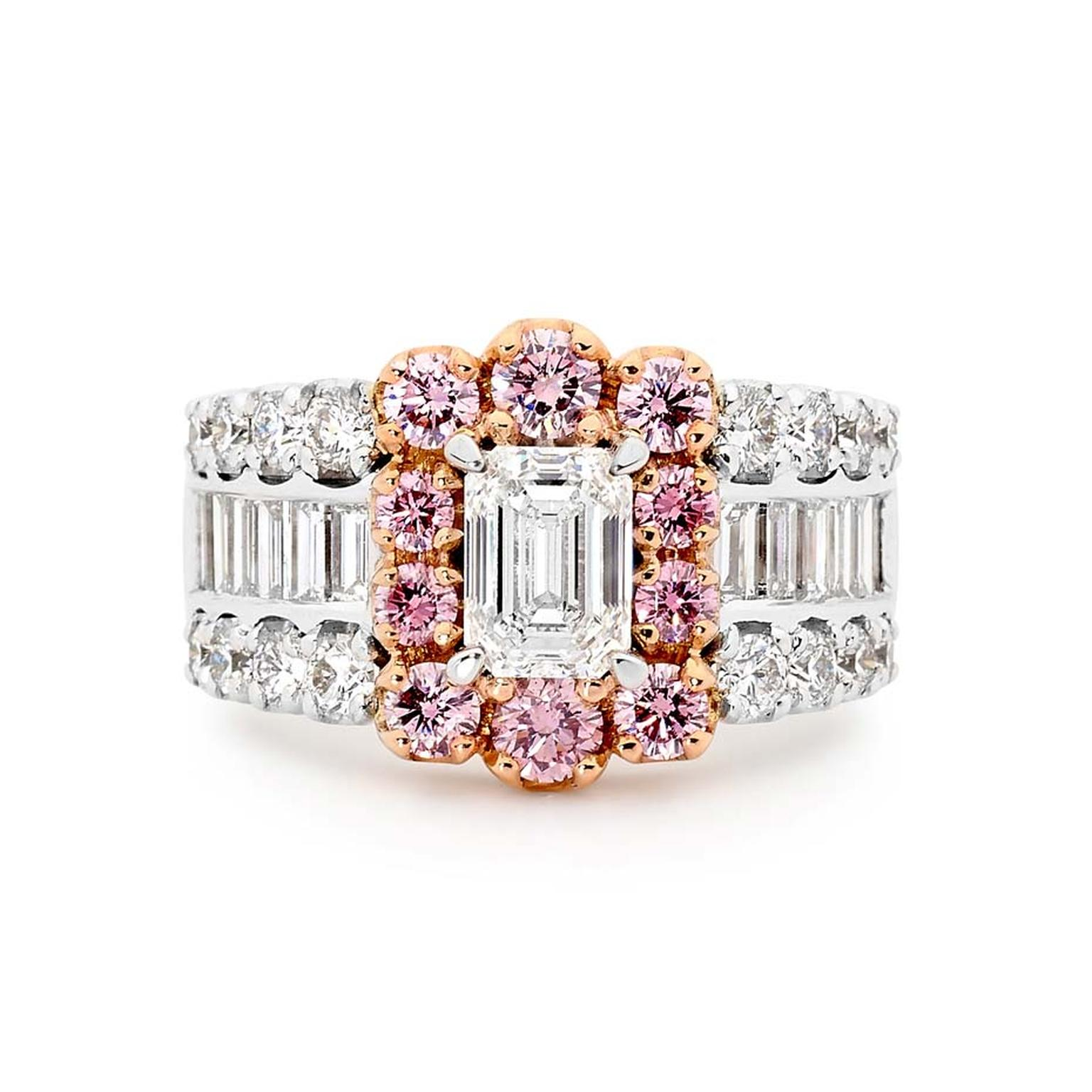 Linneys white and pink diamond ring in white and rose gold.